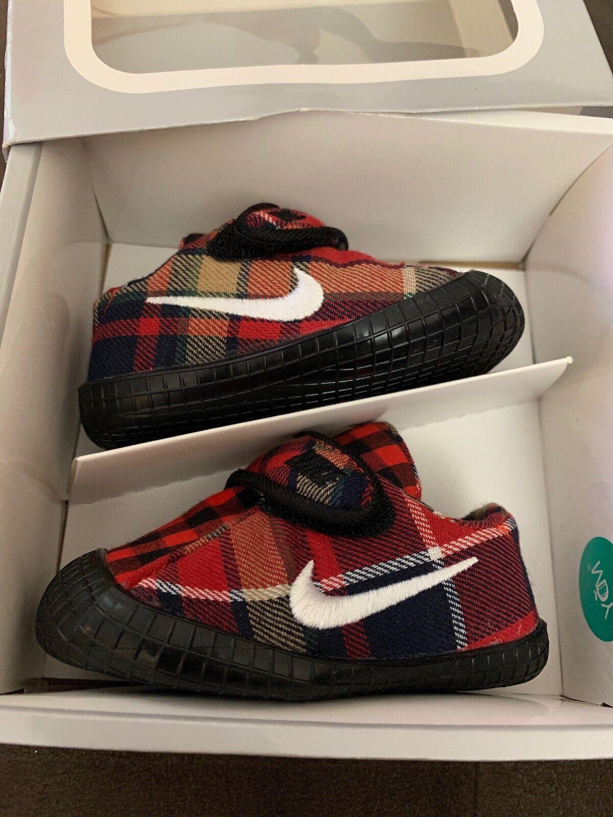 BABY BOYS: Nike Waffle 1 Shoes, Plaid - Size 2C 845126-002