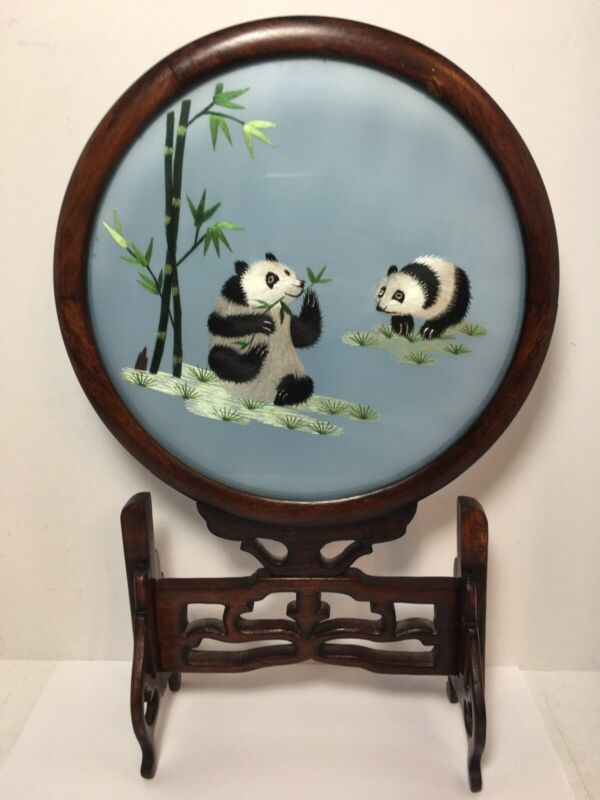 """Vintage Chinese Art Silk Embroidered PANDA Double Sided Wood Frame 13.5"""""""