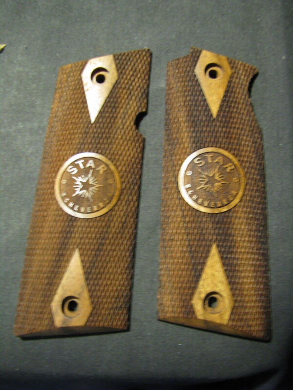 Star Model B BS Checkered w/Logo French Walnut Pistol Gun Grips SWEET NEW!