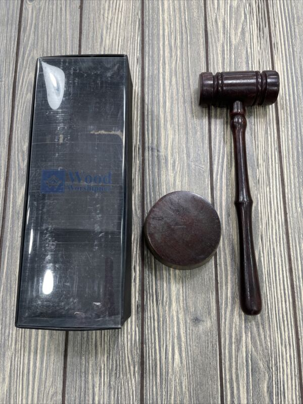 Wood Worshipper Wooden Auction Hammer Wood Gavel Sound Block Lawyer Judge NEW