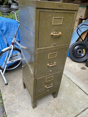 Vtg Yawman Erbe Mfg Metal Steelmaster File Cabinet Industrial Machinist 3 Drawer