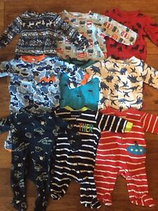 Boys 0-3month footed pj lot