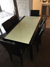 Dining table with 6 leather chairs Marrickville Marrickville Area Preview