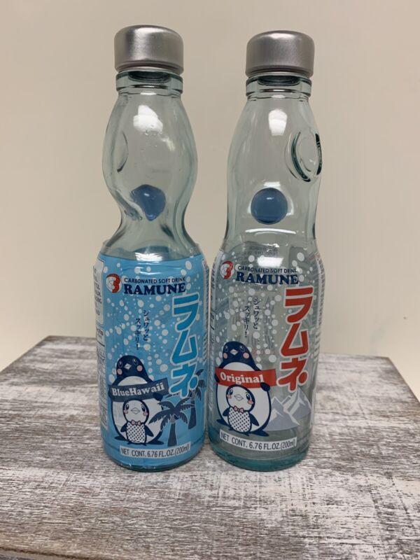 Lot Of 2 Ramune Japanese Soda bottle with marble Penguin