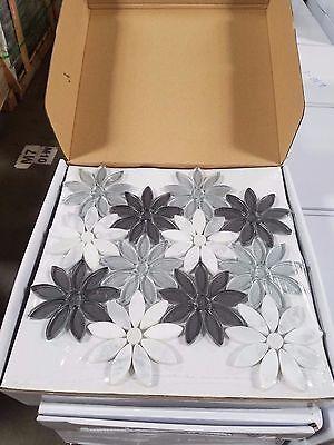 (Silver Gray Glass Flower Tile Glass Marble Kitchen Backsplash Bathroom Tile Home)