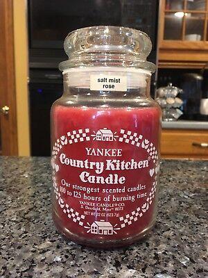 Vintage Yankee Candle SALT MIST ROSE (1983 Pre-Black Band) Country Kitchen 22 OZ