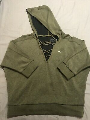 Puma Khaki Green Hoodie 3/4 Sleeves Size 12