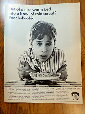 1965 Quaker Oats Cereal Ad  Out of a Nice War Bed into Bowl of Cold Cereal? for sale  Mount Horeb