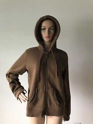 Studio Works Brown Cotton Hoodie Jacket Faux Fur Lined Hood Elbow Patches Size M