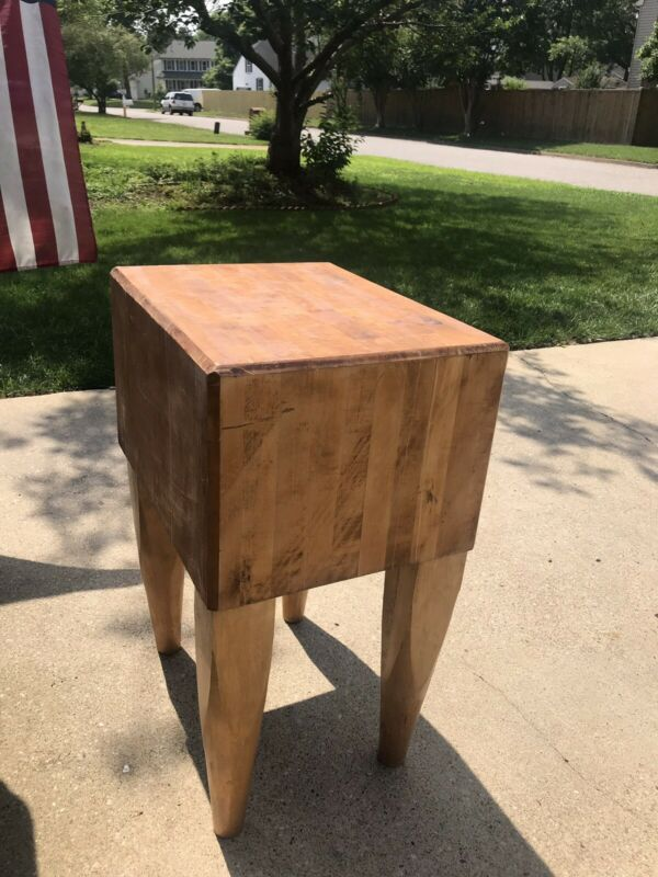 """Vintage Solid Maple Butcher Block Table Island 24"""" X 18.5x 34.25 Tall -will ship"""