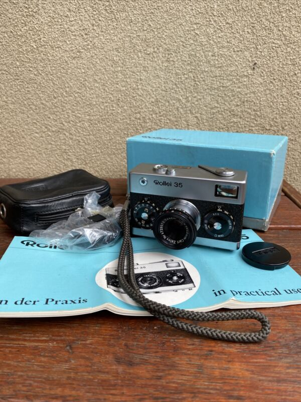 Vintage Rollei 35 Film Camera 1968 German Made with Original Box & Instructions