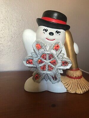 Ceramic Snowman W/ Snowflake in belly Clay Magic Hand Painted Lighted Light Up