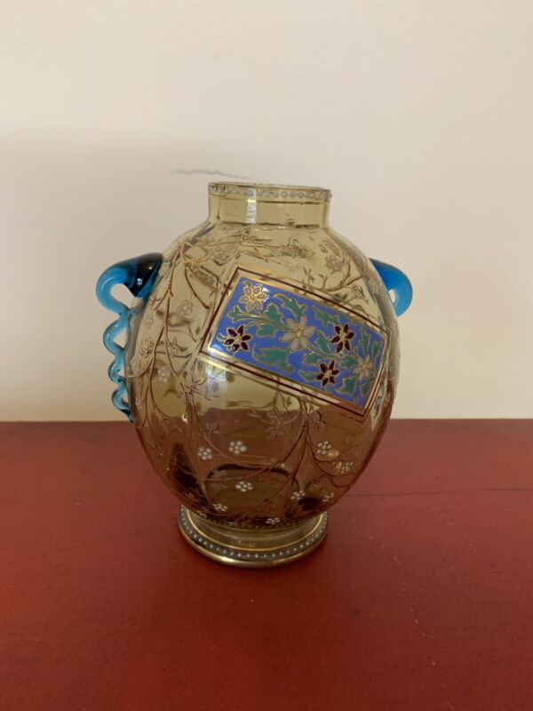 Antique Moser Style 19th Century Enameled Enamel Art Glass Vase Rare Mint Cond