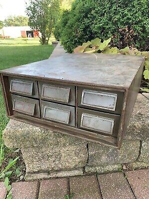 Vintage Metal 6 Drawer Bin File Cabinet Storage Tooling Hardware Industrial