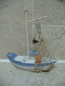 Seaside Nautical Wooden Shabby Chic Fishing Boat Bathroom Ornament Rustic  NEW