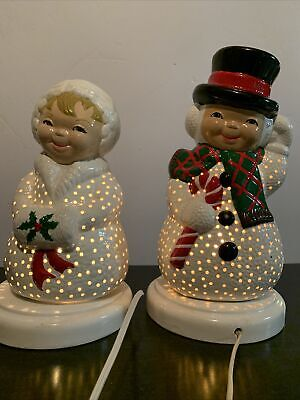 Vintage Ceramic Light Up Mr. & Mrs. Snowman With Base 13 & 12 Inch