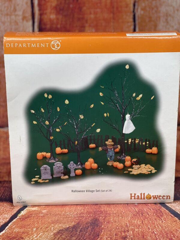 "Dept 56 ""Halloween Village Set"" #56 52957 24 Piece Set -  Complete - Excellent!"