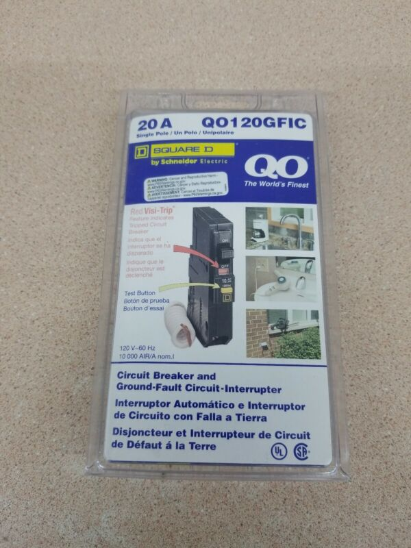 NEW SQUARE D QO120GFIC QO120GFI 20AMP GFCI GROUND-FAULT  NEW IN PACKAGE