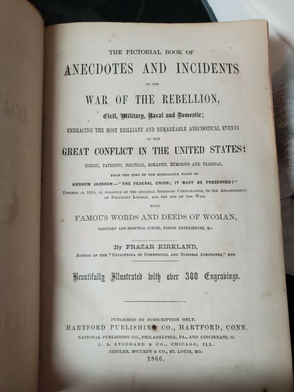 Book of Anecdotes and Incidents of the War of Rebellion Civil War  1866 original