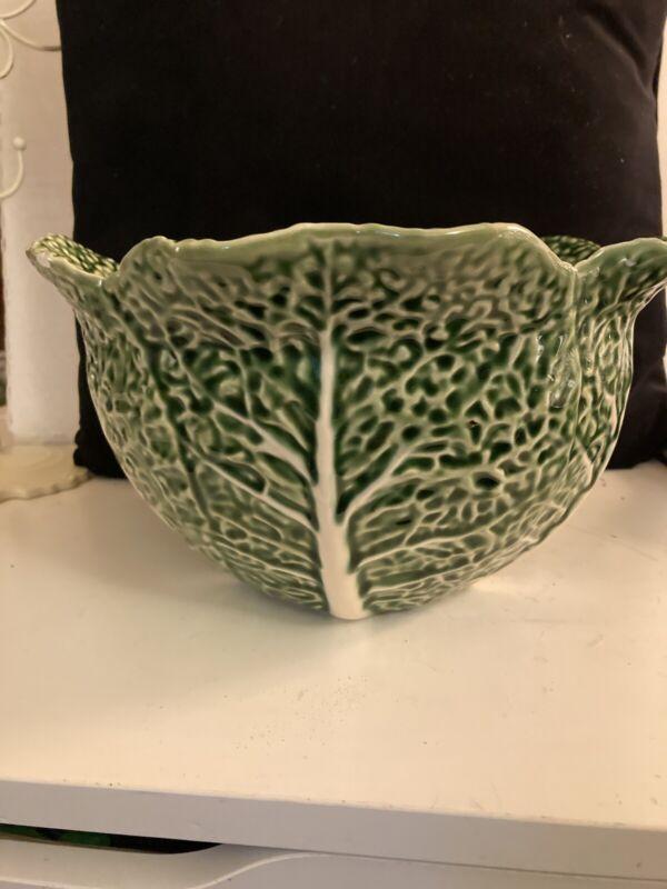 "Bordallo Pinheiro Green Cabbage Leaf Large Bowl  5 3/4"" H X 10"" Wide"