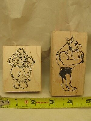 Lot of 2 Dog Stamps. Bulldog with Milkshake and Poodle with Sunglasses
