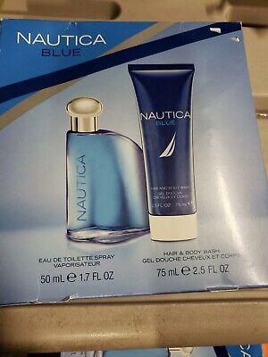 Nautica Blue 2 Pc Gift Set de Toilette Spray & Body Wash Men damaged box