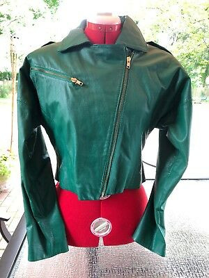 Women's 1980's AVON FASHIONS Green Leather Jacket, Mint Condition,  Sz 11/12, Sm
