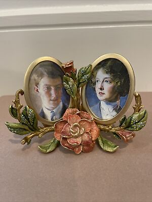 JAY STRONGWATER Double Oval Picture Frame With Rose