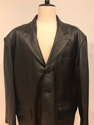 Versace V2 Mens Black Lambskin Leather Blazer Jacket Sport Coat Size 60EU/50US