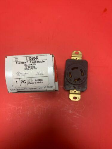 PASS & SEYMOUR L1520-R TURNLOCK RECEPTACLE 20A 3PH 250V 3P 4W GRDG New