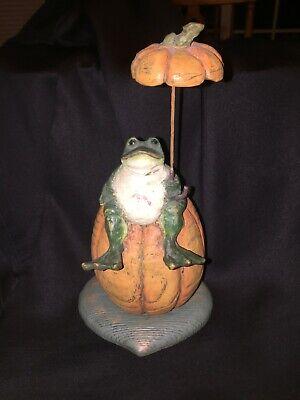 2002 American Chestnut Folk Art Rainy Day AM1804 Frog Pumpkin Rainy Day Frogs