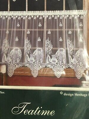 """Heritage Lace 60"""" X 24"""" WHITE ,Teatime  Lace Tier Pair, With Red Rose Embroid."""