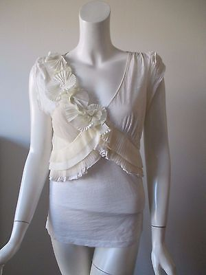 Anthropologie C Keer Ivory Pleat Flowers Trims V Neck Cotton Top S