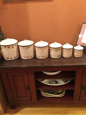 Antique 6 Pc Heavy Nesting Enamel Canister Set, Kitchenware, Collectibles, Gifts
