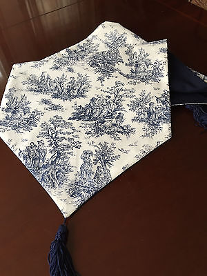 Home Decor Waverly Country Rustic Toile Navy Blue Table Runner - ThemeRunners - Country Table Decorations