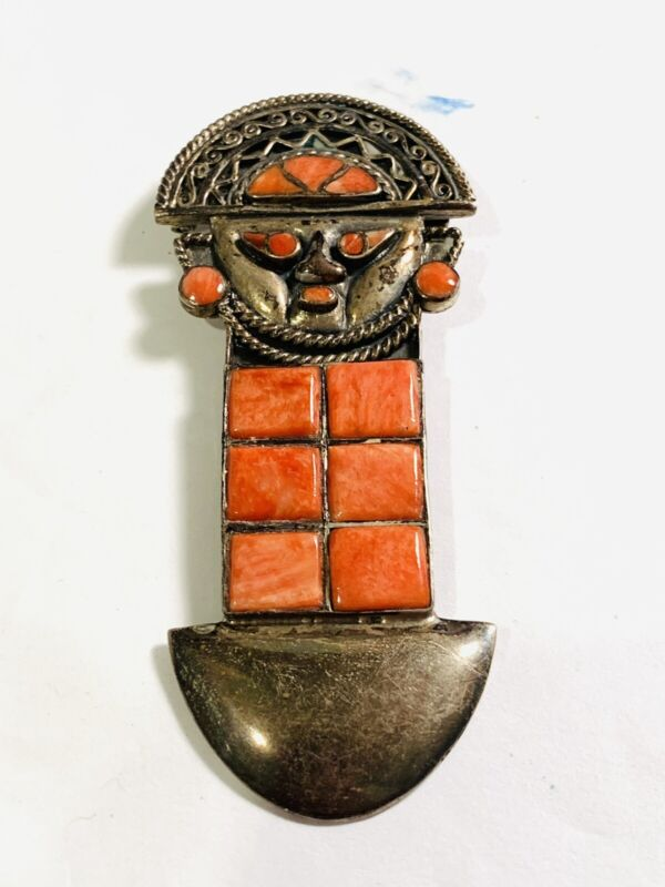 Vintage Sterling Silver Spiny Oyster Tribal God Shield Brooch Pin
