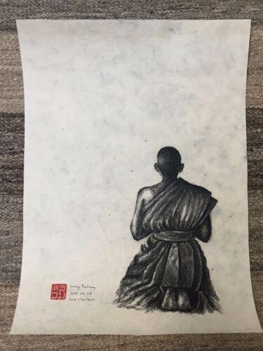 Original - Buddhist Monk Charcoal Art, Handmade Paper - Laos - SIGNED / STAMPED