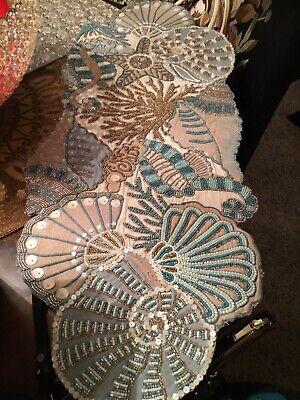 Kim Seybert Seashell Beaded Table Runner Tan Blue Mother of Pearl Beach Gorgeous