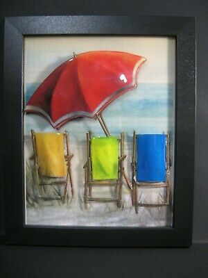 Signed Artist Victor Bradford's fine 3D Art and Collage Signed Beach Chairs