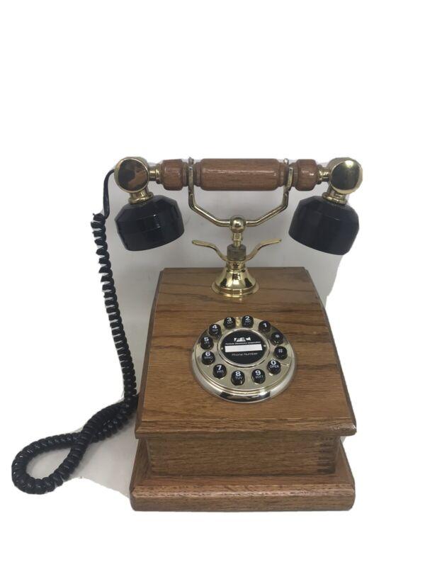 VTG Wood FORMULA ELECTRONIC CORP Desk Table TELEPHONE Rotary Push Button Phone