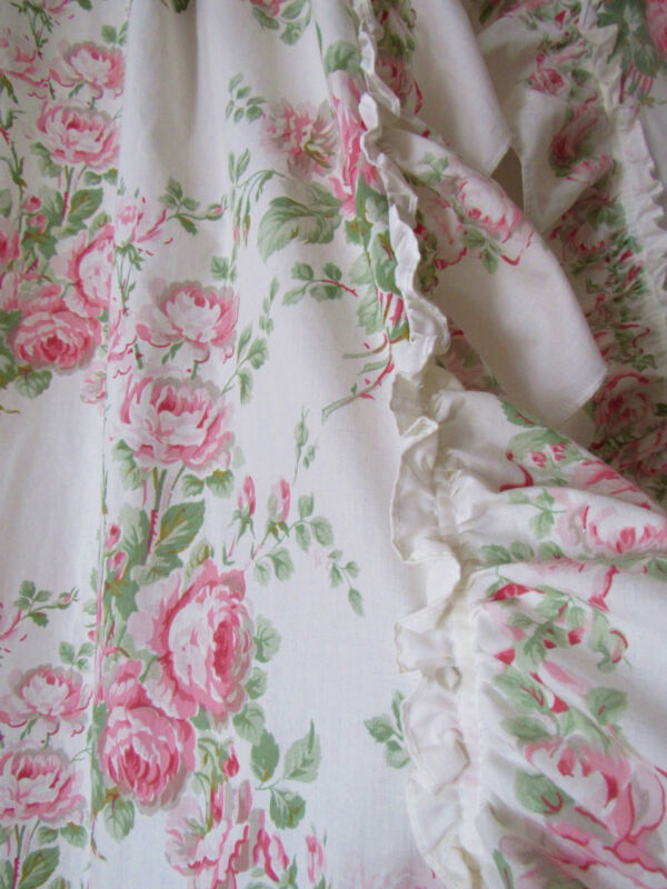 Vtg Romantic Laura Ashley Country Rose Floral Priscilla Ruffle Curtains Panels