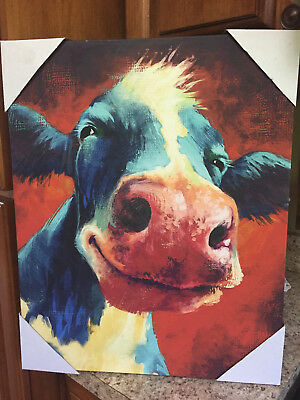 Dollar General Canvas Moo Cow Painting Farmhouse Decor Wall Picture 20X16