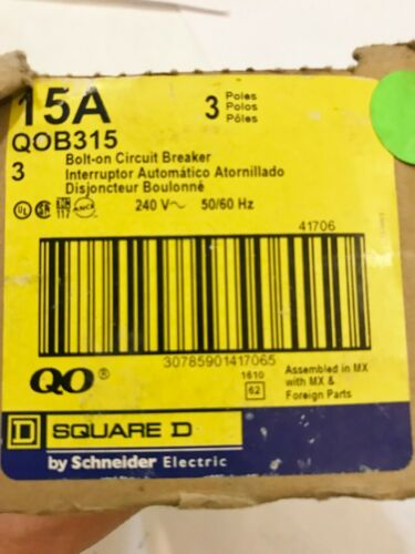 BOX OF THREE (3) NEW SQUARE D QOB315 15A 3P BOLT-ON CIRCUIT BREAKERS BEST PRICE