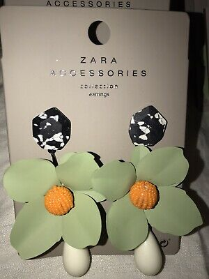 "ZARA ACCESSORIES COLLECTION EARRINGS: MEDIUM BIG GREEN FLOWER DROP, 4.2"" x 2.4"""