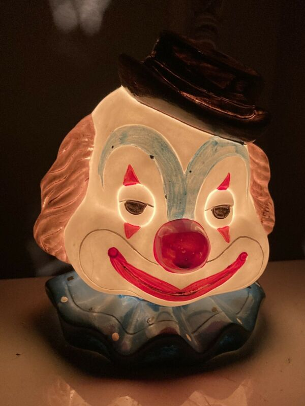 Vintage Circus Clown Ceramic Electric Nightlight Lamp Made In Taiwan
