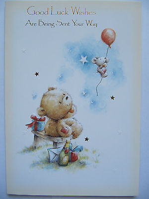 Good Luck Wishes Cards - COLOURFUL BALLOONS & TEDDY GOOD LUCK WISHES ARE SENT YOUR WAY GREETING CARD