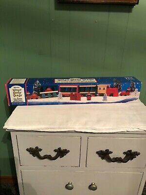 Vintage 1994 22 Piece Hand Painted Holly Berry Train Set Wood Christmas Decor