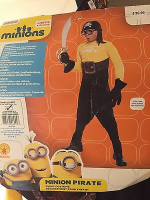 Boy Sz Small (4-6) Halloween Minion Pirate Costume New  (Minion Boy Costume)