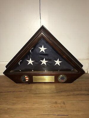 U.S. Military Funeral Flag In Case Army National Gaurd