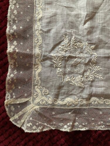 Antique French linon handkerchief, Hand embroidered Initials, Crown,Valenciennes